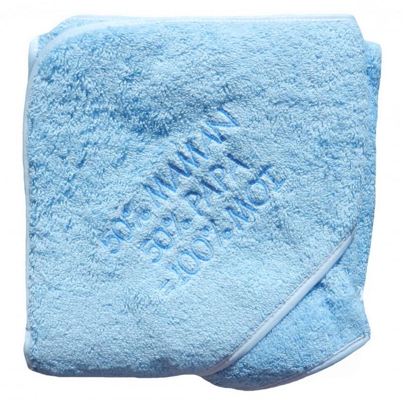 sortie de bain et son gant de toilette bleue maman et papa