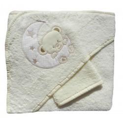 Cape de bain et gant de toilette beige, motif lune
