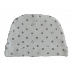 Bonnet naissance blanc avec des étoiles grises