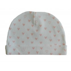 Bonnet naissance blanc cœur rose en coton