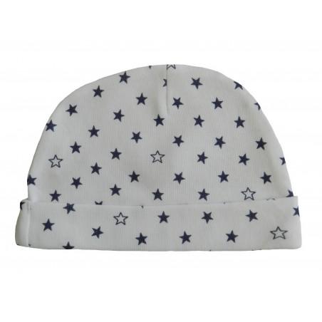 Bonnet naissance blanc avec motifs étoiles bleu-marine