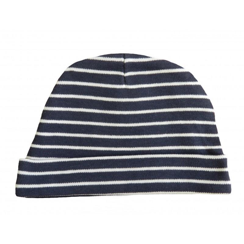 Bonnet naissance rayé blanc et bleu-marine