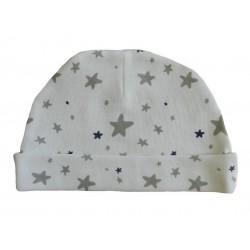 Bonnet naissance blanc imprimé d'étoiles bleu et grises