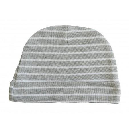 Bonnet naissance gris et blanc à rayures
