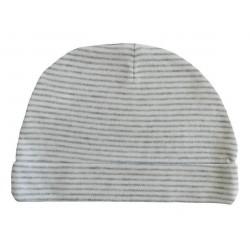 Bonnet naissance rayé gris et blanc