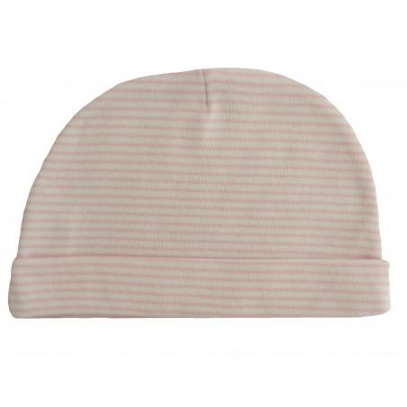 Bonnet naissance rayé rose et blanc