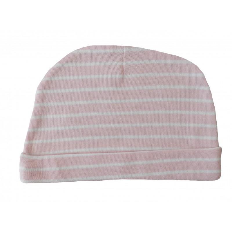 Bonnet naissance rose et blanc en coton