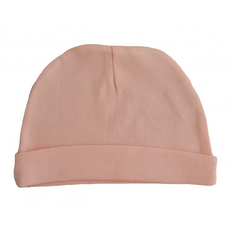 Bonnet naissance rose en coton