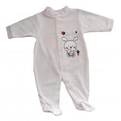 Pyjama velours rose motif lapin