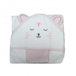 Sortie de bain bébé fille blanche et rose. Tête de chat