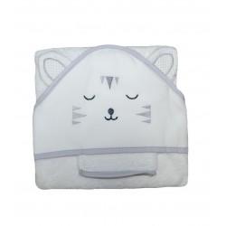 Cape de bain bébé tête de chat, blanche et grise accompagnée de son gant de toilette