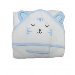 Cape de bain bébé tête de chat