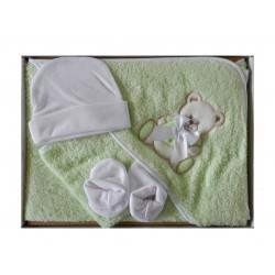 Coffret sortie de bain bébé vert anis et ses accessoires