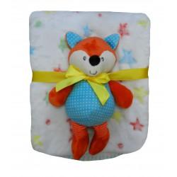 Cadeau naissance bébé doudou renard et sa couverture polaire