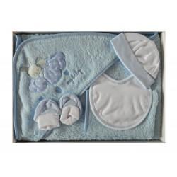 Coffret naissance sortie de bain bleu et blanc et ses accessoires
