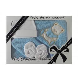 Coffret naissance cape bain bébé de couleur bleu