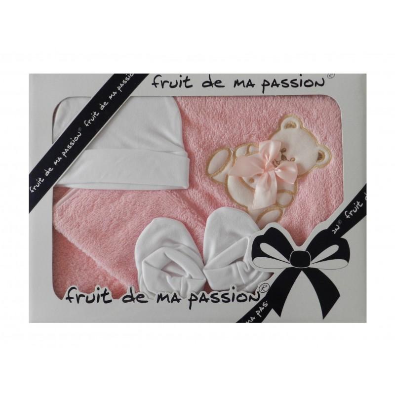 Coffret sortie de bain bébé fille rose, motif ourson