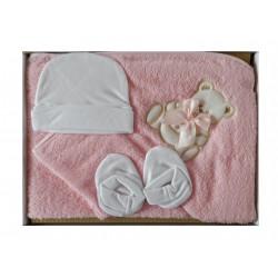 Coffret naissance parure de bain bébé fille rose