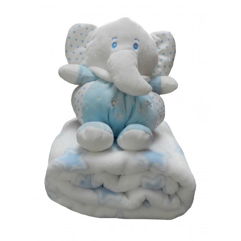 Coffret cadeau naissance bleu et blanc: doudou et couverture polaire
