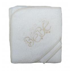 Cape de bain bébé blanche et crème. Gant de toilette assorti