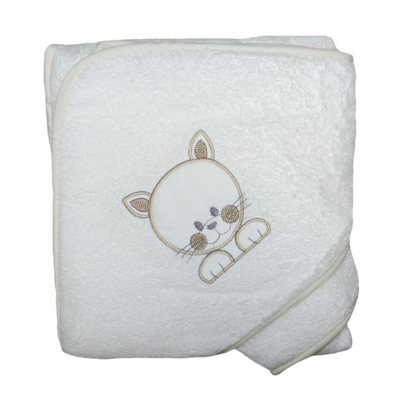 Cape de bain blanche et crème petit chat
