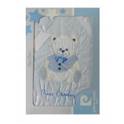 Coffret couverture bébé bleu de la marque Pierre Cardin