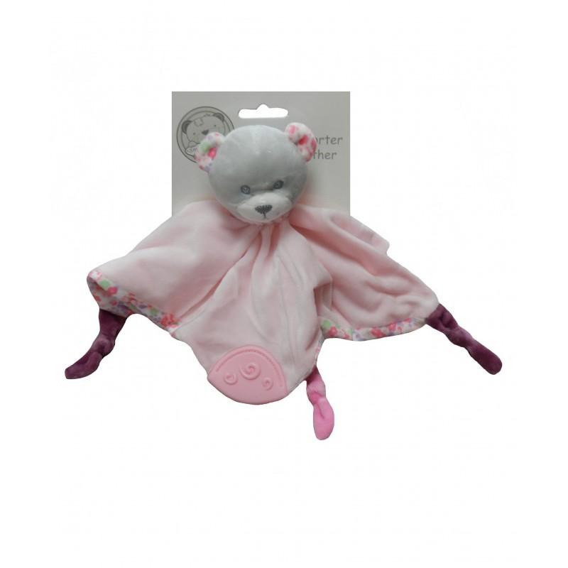 Doudou ourson rose anneau de dentition