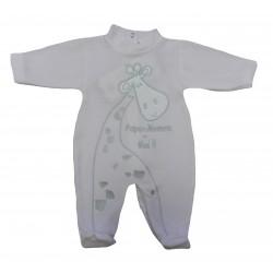 Pyjama rose bébé fille motif girafe