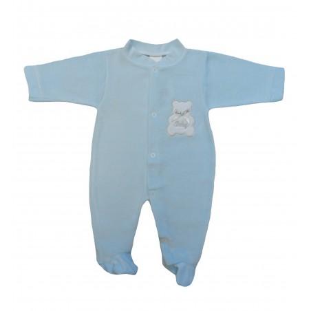 Pyjama bébé bleu, motif ourson sur la poitrine. Coton velours