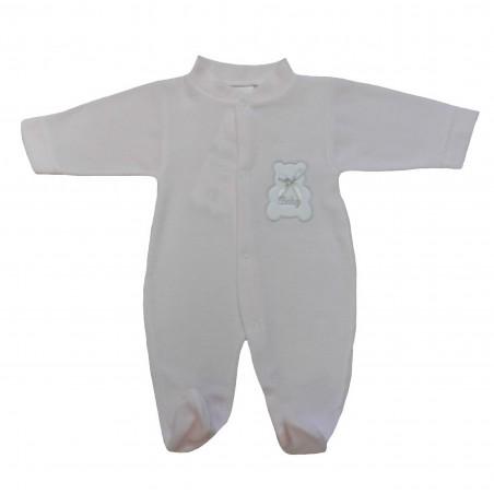 Pyjama bébé fille rose, motif ourson sur la poitrine