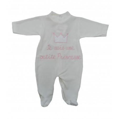 Pyjama beige broderie rose je suis une petite princesse