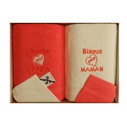 Coffret naissance rouge fuchsia et blanc composé de 2 serviettes à langer et 2 gants de toilette