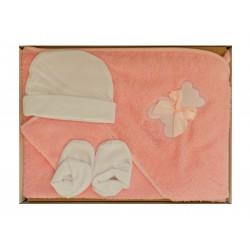 Coffret bain pour la naissance. Couleur rose. motif ourson