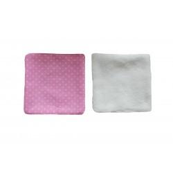 Lingettes rose à pois blanc. Verso éponge de bambou