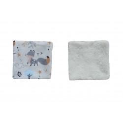 Lingettes lavables tissu renard éponge bambou blanc