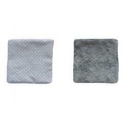 Lingettes lavables tissu gris à pois blanc éponge bambou grise