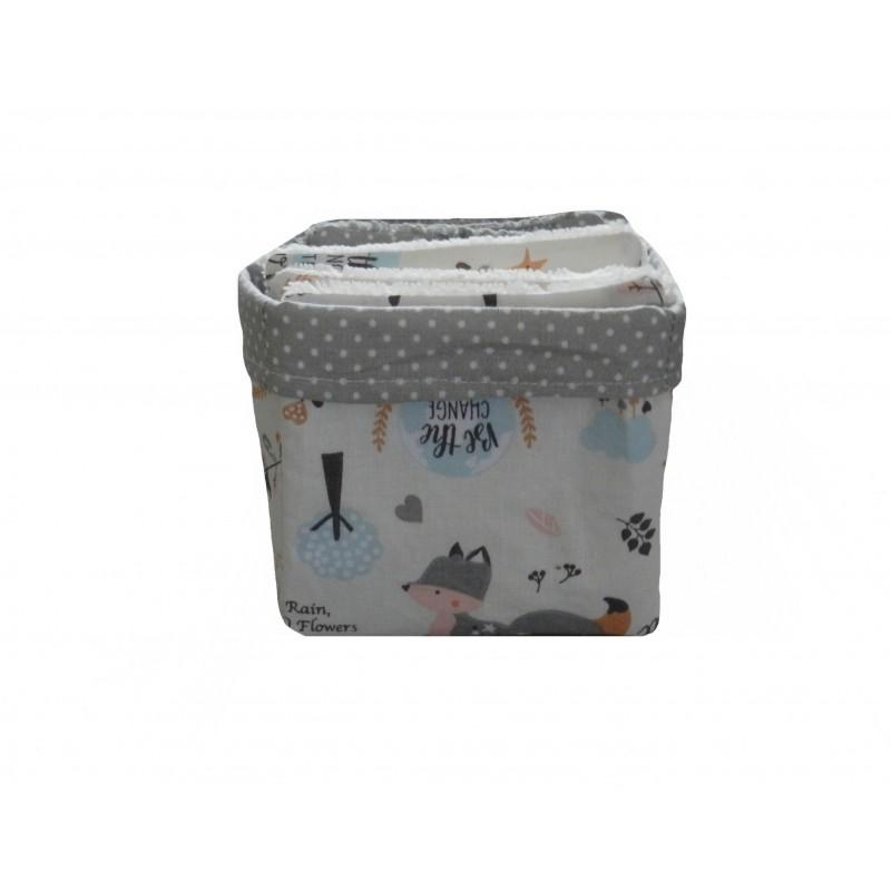 Panier de 8 lingettes lavables éponge bambou thème renard