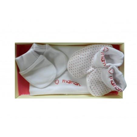Kit naissance blanc à pois rouge