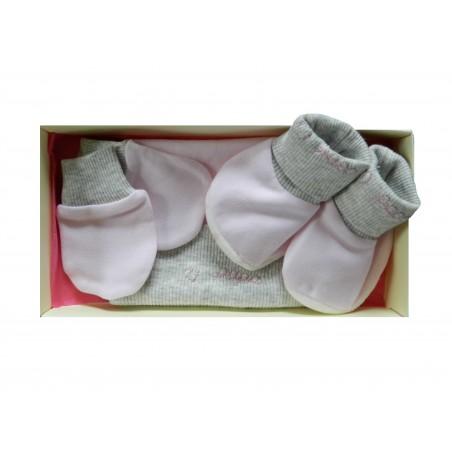 Kit naissance 3 pièces rose et gris
