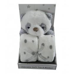 Doudou panda et sa couverture polaire blanche à pois gris