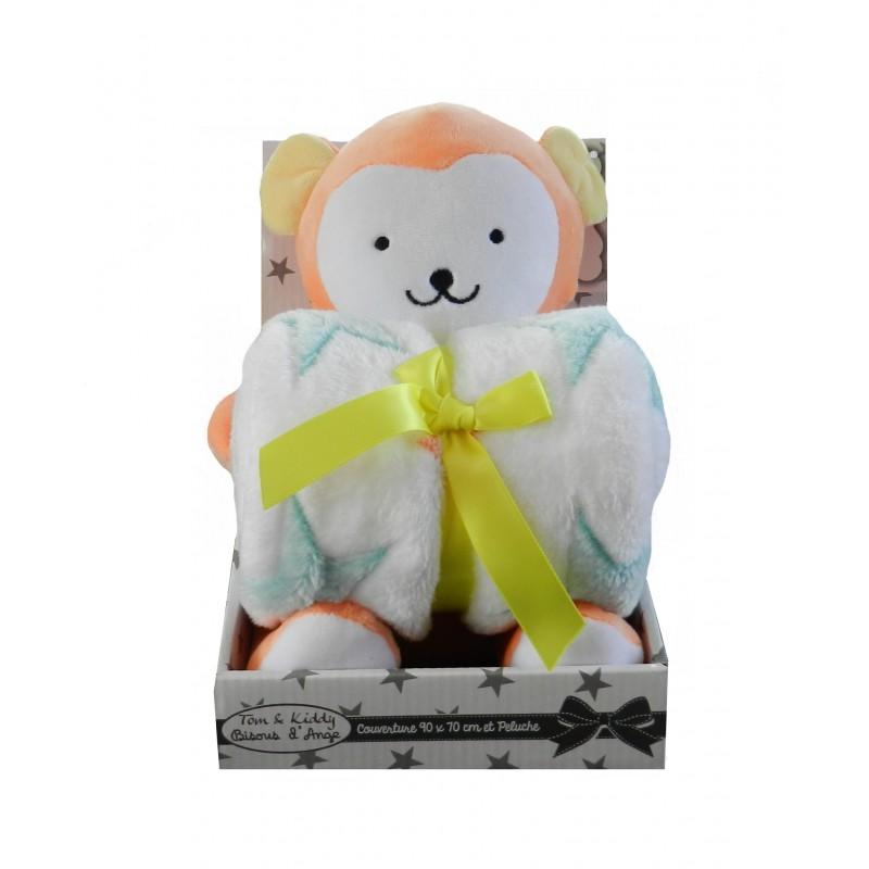 Coffret naissance doudou couverture singe