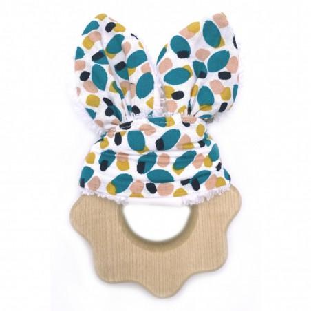 Hochet de dentition en bois avec son tissu multicolore. Produit BB&CO.