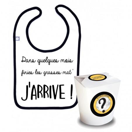 Boite surprise annonce grossesse! Bavoir en coton avec texte original imprimé