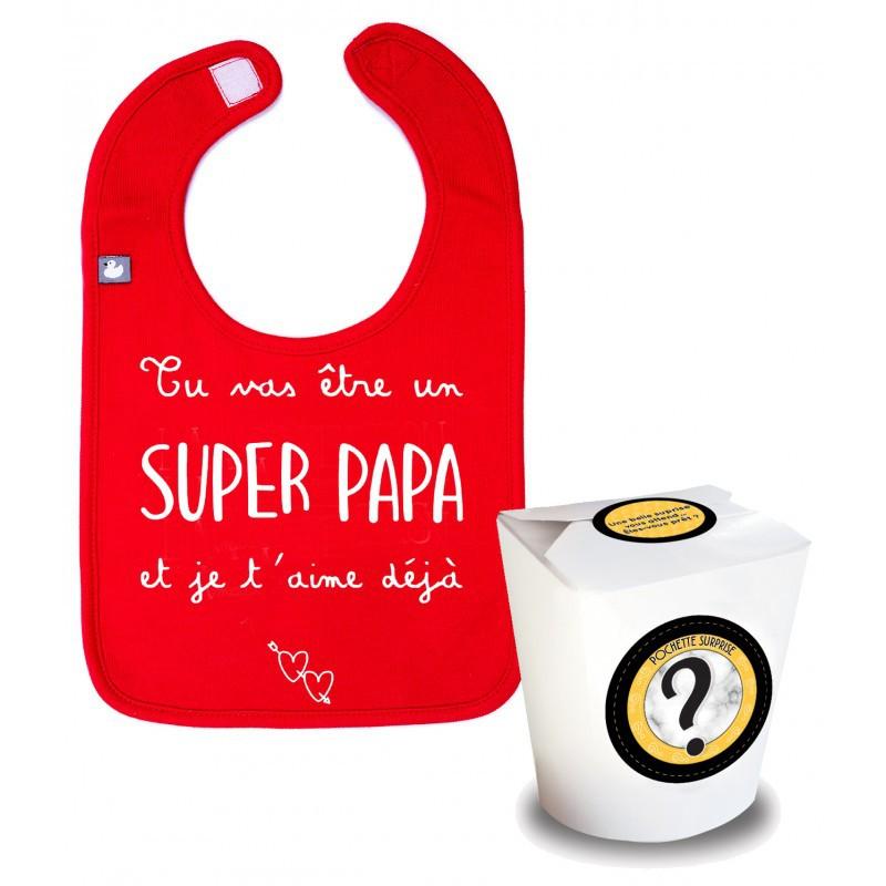 Boîte surprise annonce grossesse papa! Un joli bavoir en pur coton