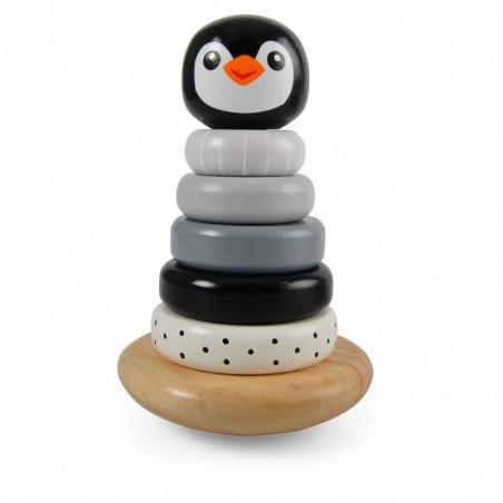 Jouet en bois: pyramide pingouin gris à empiler