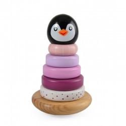 Jouet en bois pyramide à empiler. Pingouin de couleur rose