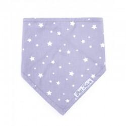 Bavoir bandana gris avec des étoiles blanches. 2 pressions au dos