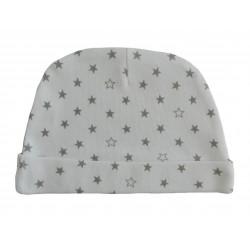 Bonnet naissance en coton blanc avec des étoiles grises