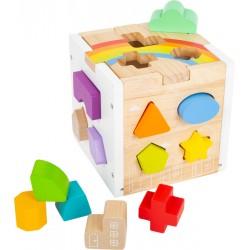 Cube à encastrer en bois avec 13 formes