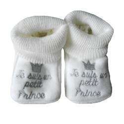 Chaussons naissance blanc je suis un petit prince